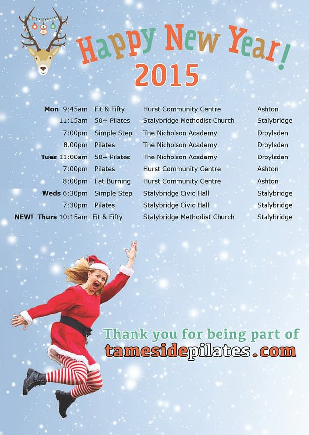 Tameside Pilates timetable from January 2015